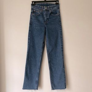 H&M Straight Leg High-rise Raw Hem Jeans